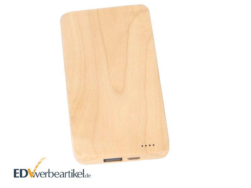 Holz Powerbank mit Logodruck WHISKEY 4000 - 8000 mAh