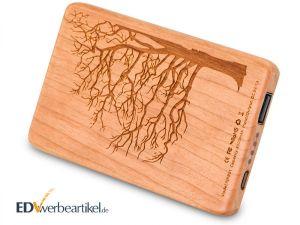 Holz Powerbank mit Logogravur WOODSTOCK 4000 mAh