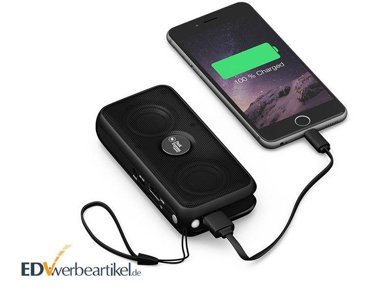Powerbank mit Bluetooth Lautsprecher bedrucken