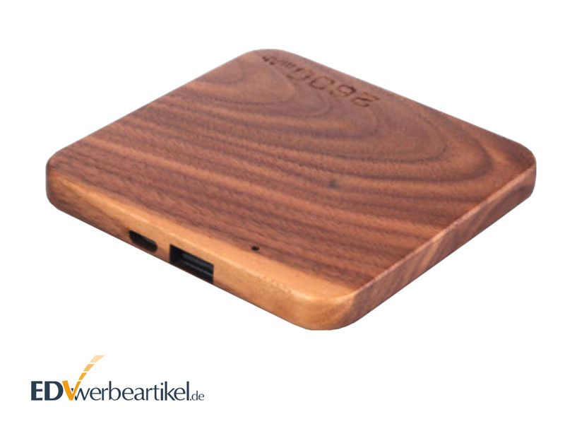 flache powerbank aus holz 2600 mah mit logo als usb werbeartikel. Black Bedroom Furniture Sets. Home Design Ideas