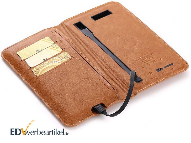 Powerbank Qi Kreditkartenetui WALLET als Werbeartikel mit Logo