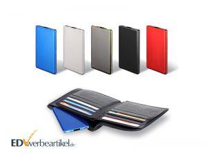 Powerbank Scheckkarte aus Edelstahl für Portemonnaie als Werbeartikel