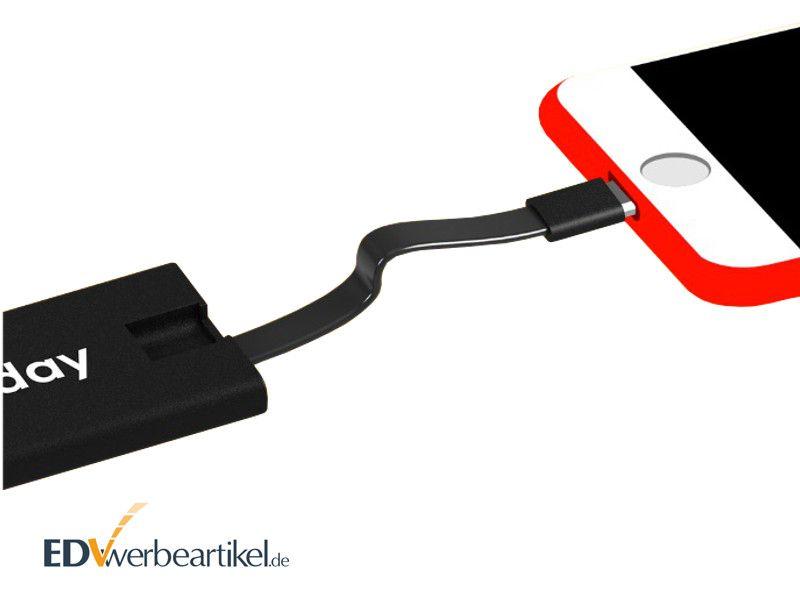 Mini Powerbank Schlüsselanhänger Ladekabel als Werbeartikel