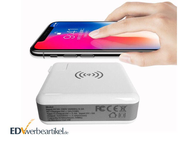 USB Typ-C Ladegerät mit Powerbank und Qi Wireless Charger GENIUS mit Logo bedrucken