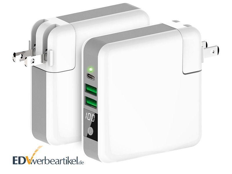 USB Typ-C Ladegerät mit Powerbank und Wireless Charger GENIUS als Werbeartikel