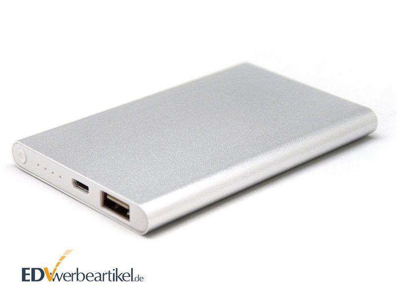 Powerbank Werbeartikel ab Lager aus Aluminium in Silber mit Logo Gravur