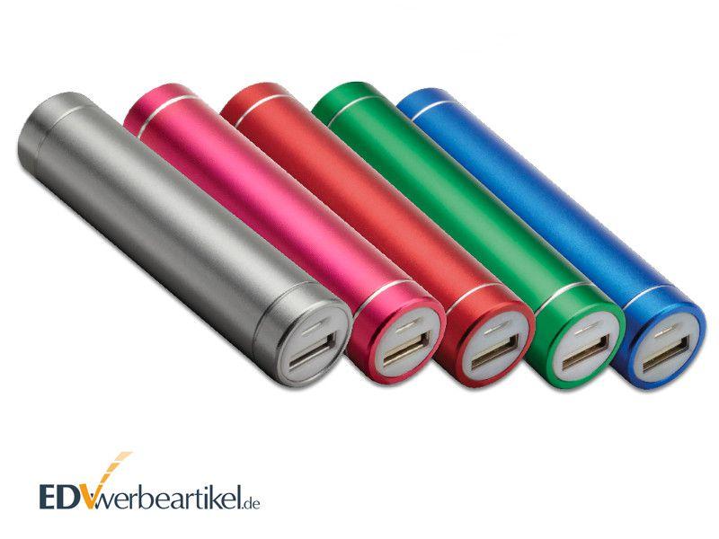 Powerbank Werbeartikel Aluminium Rolle bedrucken