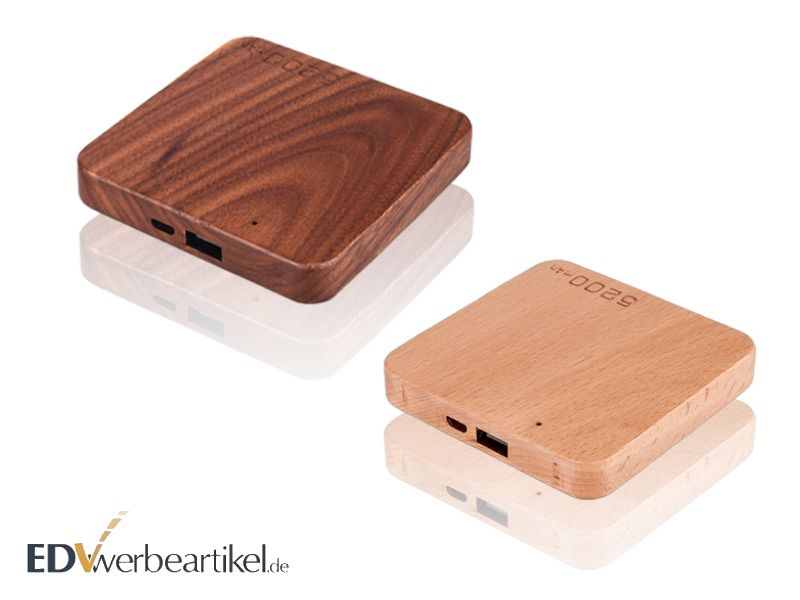 Flache Powerbank WOODEN 2600 mAh