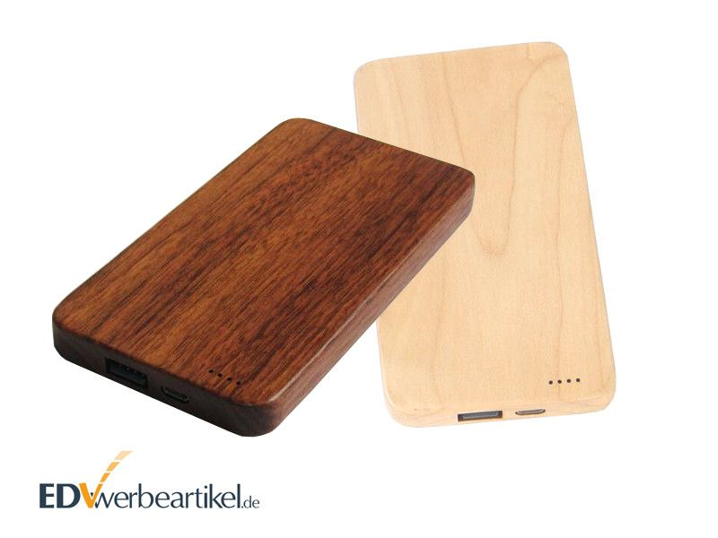 Holz Powerbanks mit Logo WHISKEY 4000 - 8000 mAh