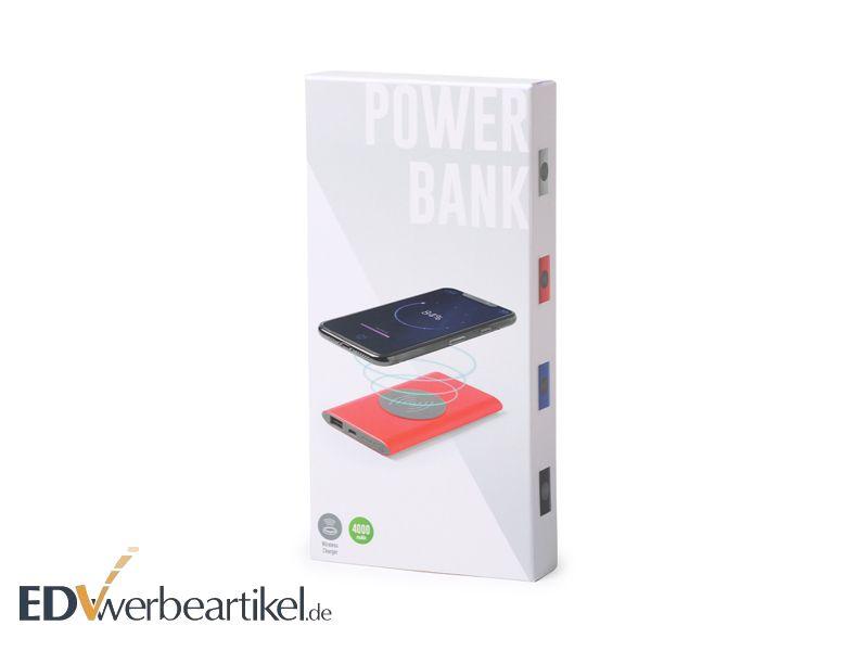 Qi Powerbank INDUKTION mit Firmenlogo als Werbeartikel bedrucken