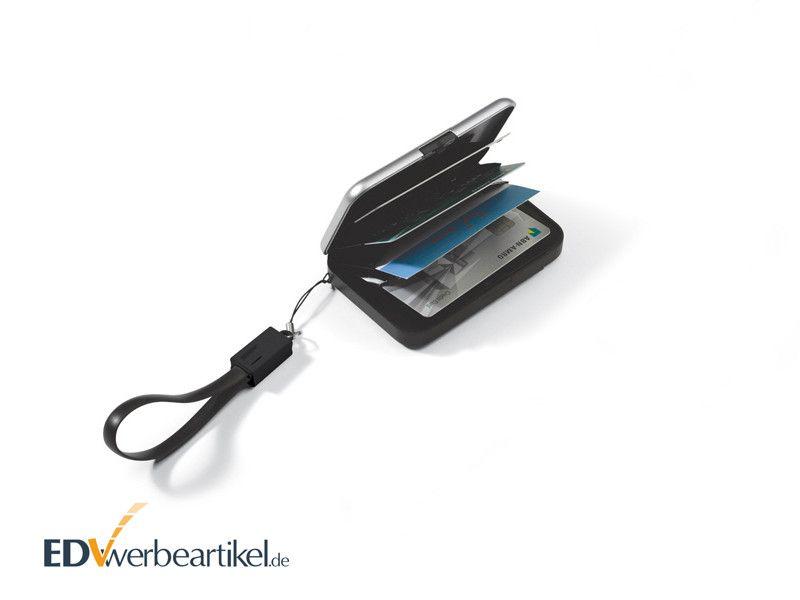 RFID Kreditkartenbox aus Aluminium mit Powerbank als Werbegeschenk mit Logo