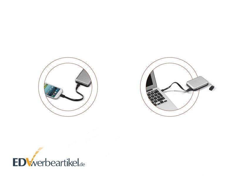 RFID Kartenetui aus Metall mit Powerbank als Werbemittel