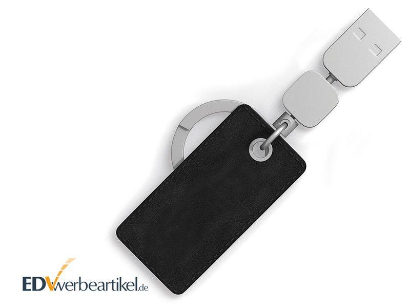 USB Stick mit Leder Schlüsselanhänger als Werbeartikel bedrucken