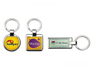 Schlüsselanhänger Metall mit Firmenlogo Vollfarbdruck
