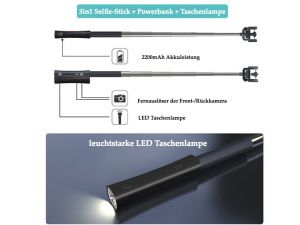 Selfie-Stange 2200 mAh Powerbank und Taschenlampe in Einem
