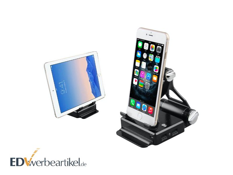Powerbank Werbeartikel mit Smartphone Tablet Halterung 10400 mAh