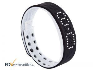 Fitness Armband mit Logo bedrucken - Times Square - schwarz weiß