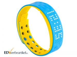 Fitness Armband Times Square in blau und gelb als Werbeartikel mit LED-Display