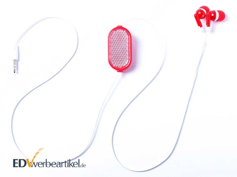 Kopfhörer mit ausziehbarem Kabel als Werbegeschenk