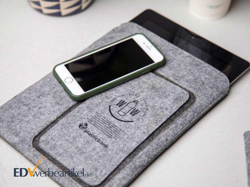 Tablet und Smartphone Sleeve SUSTAINABLE aus Filz - die Hülle fürs Handy als mobiles Werbegeschenk