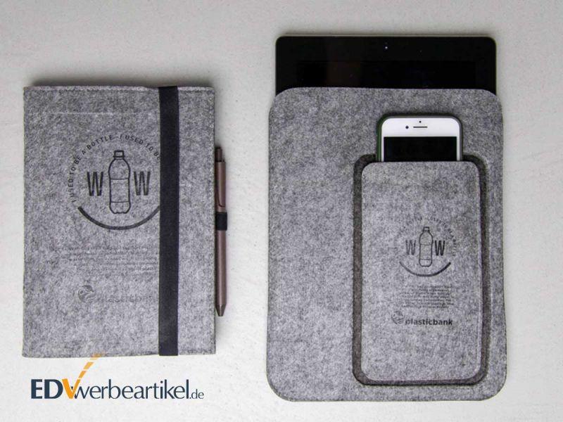 Tablet und Smartphone Sleeve SUSTAINABLE mit Ihrem Logo-Druck ökologisch und umweltbewusst werben