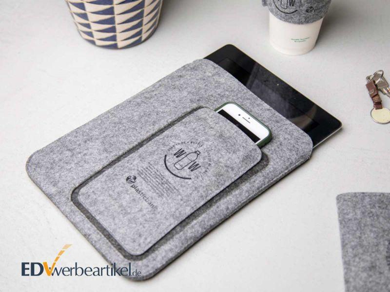 Tablet und Smartphone Sleeve SUSTAINABLE aus Fleece als Werbemittel