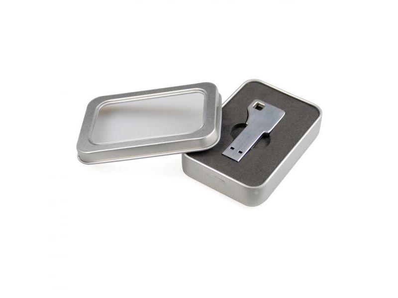 Metallbox mit Sichtfenster und Schauminlay für USB Key