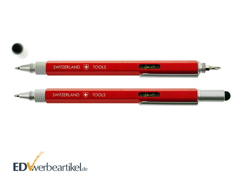 Touchpen Kugelschreiber in rot gravieren