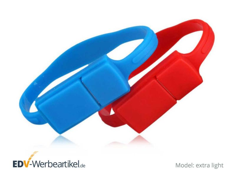 USB Armband EXTRA LIGHT in rot und blau als Werbeartikel