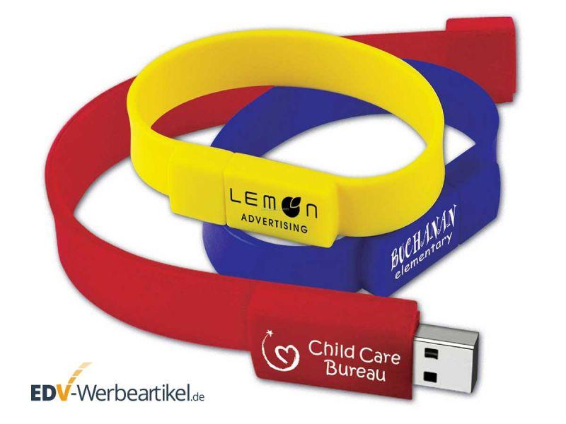 USB Speicher als Armband - Druckbeispiele in gelb, rot, blau