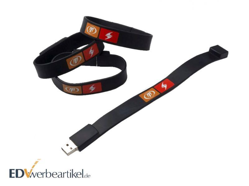 USB Armband SOFT Druckbeispiel schwarz mit Logo