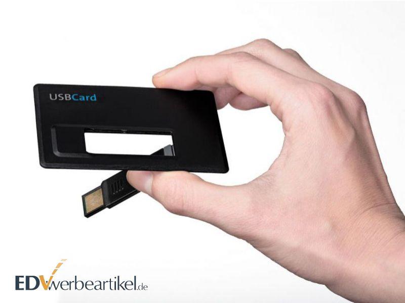 USB Kreditkartenformat mit Firmenlogo bedrucken - Werbegeschenk