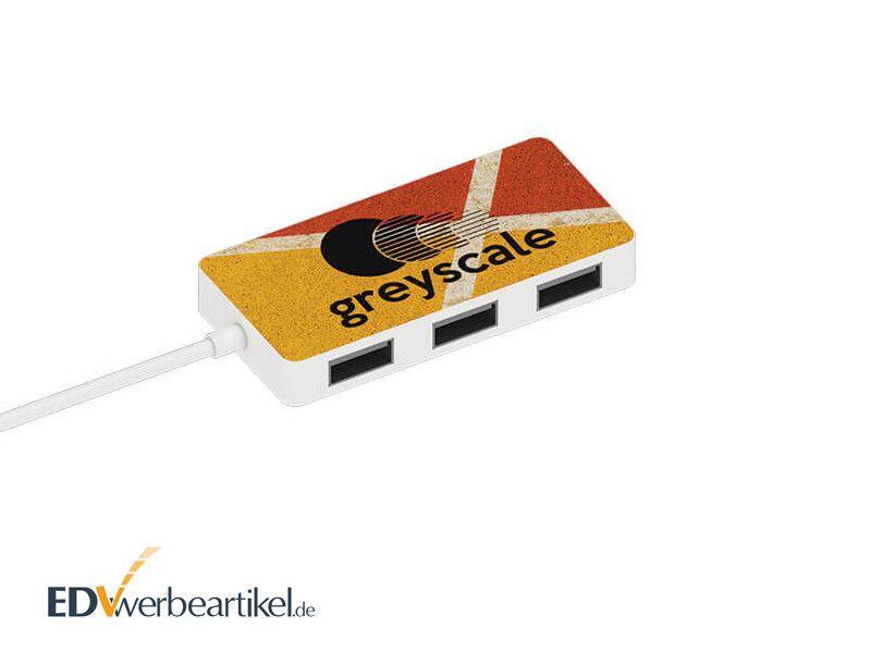 4-fach USB Hub mit Logo als Werbegeschenk