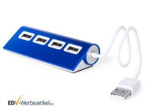 Werbeartikel USB Hub 4 Port - blau