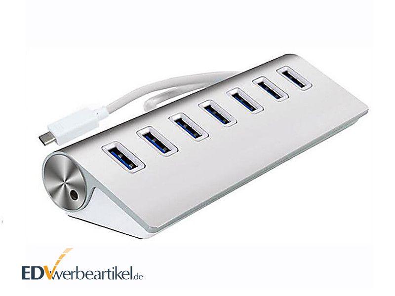 USB Hub Werbeartikel 7-fach mit Typ-C Input