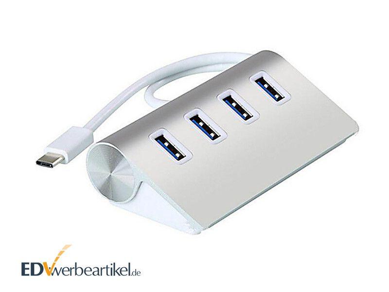4-fach USB Hub Werbeartikel mit Typ C