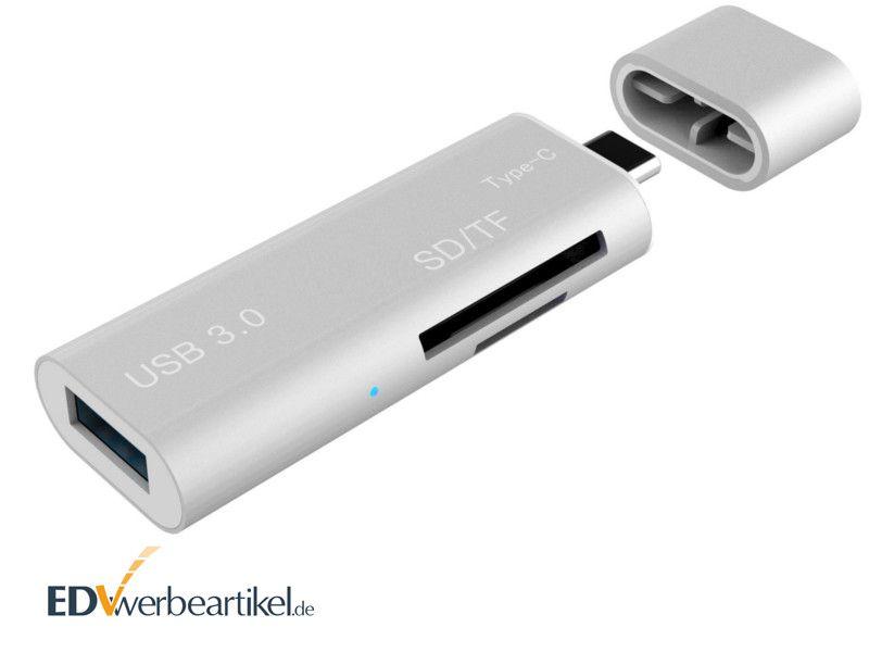 USB Kartenleser für SD Card mit USB Stick Typ C als Werbeartikel, Werbemittel