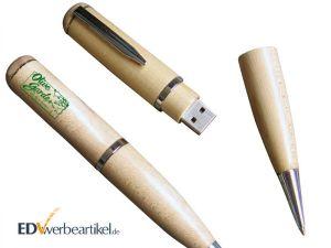 USB Kugelschreiber HOLZ mit Logo bedrucken