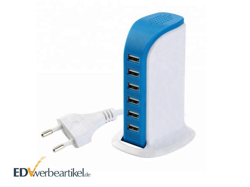 5-fach USB Ladegerät in Blau als Werbegeschenk DESIGN