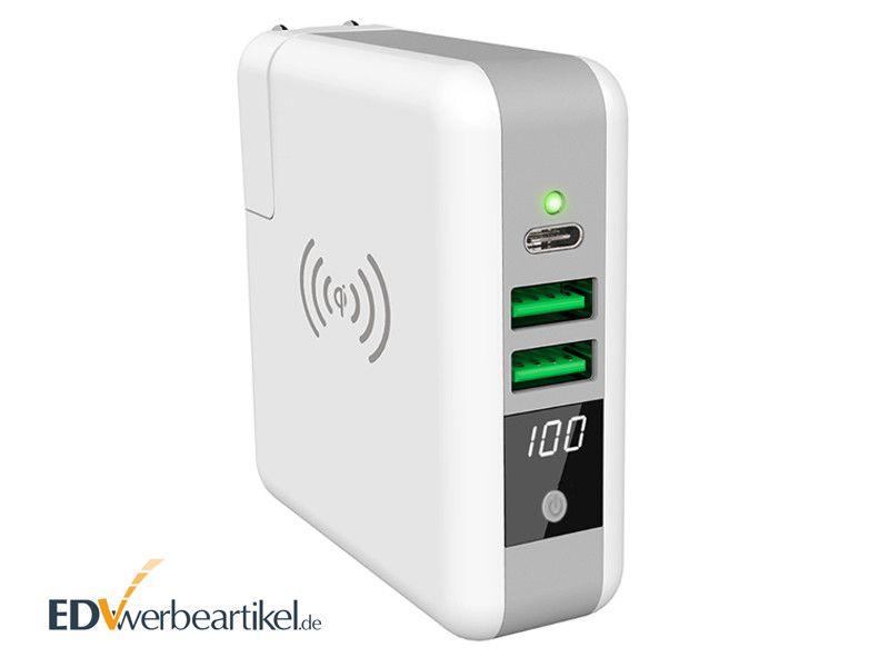 USB Typ-C Ladegerät mit Powerbank und Wireless Charger GENIUS als Werbemittel