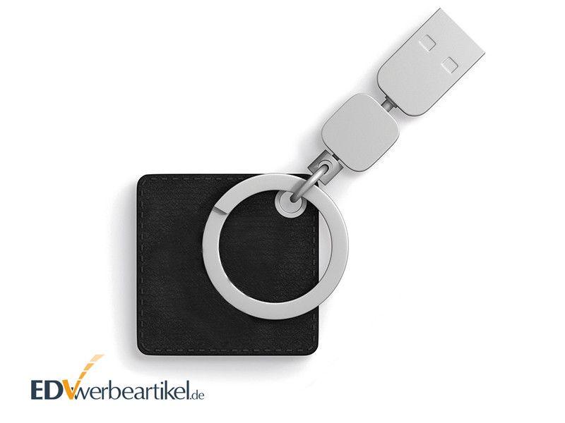 USB Stick mit Leder Schlüsselanhänger als Werbemittel mit Logo
