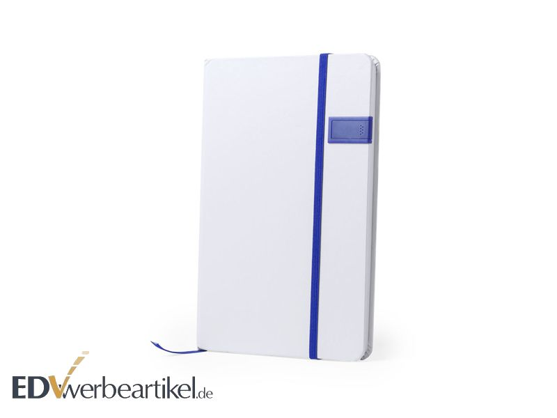 USB Stick im Notizbuch JOURNAL - white blue