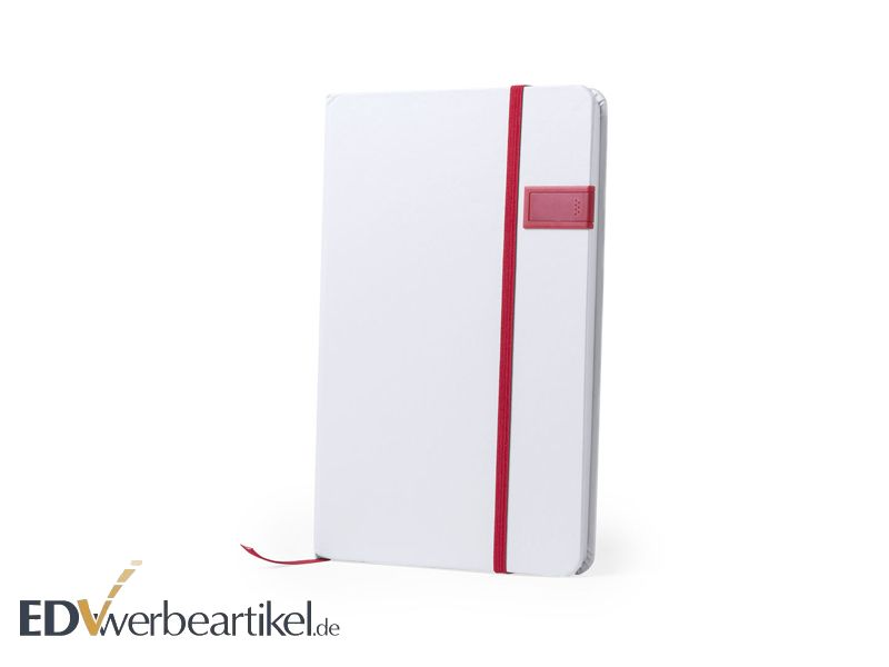 USB Stick im Notizbuch JOURNAL - white red