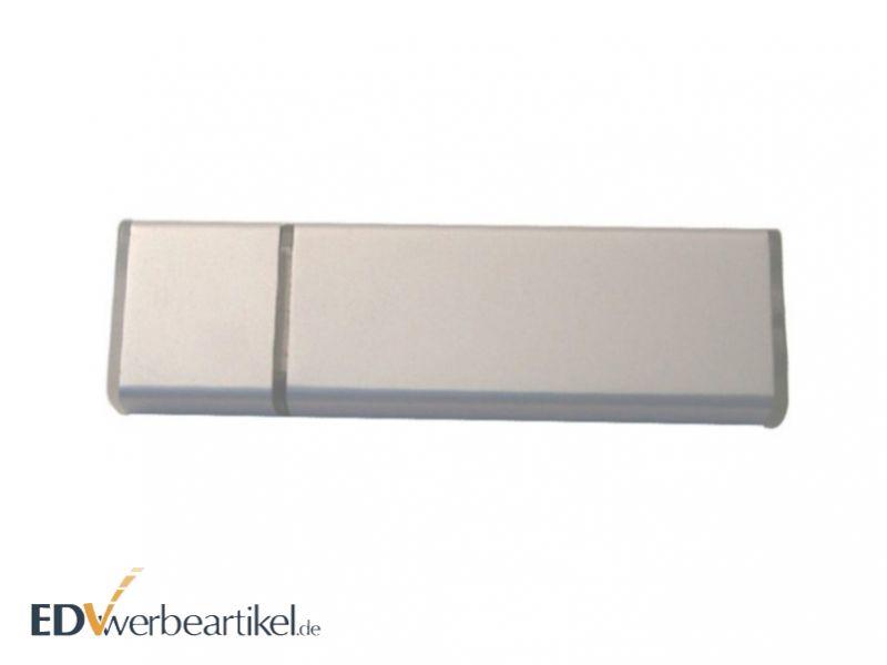Werbeartikel USB Stick aus Aluminium in Silber gravieren