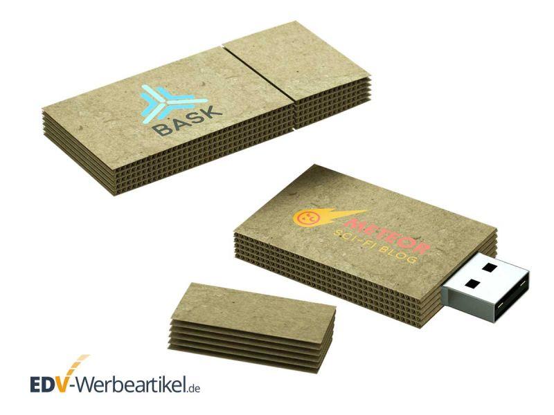 USB Stick CARDBOARD vermittelt Umweltschutz, Nachhaltigkeit und ökologische Werbung