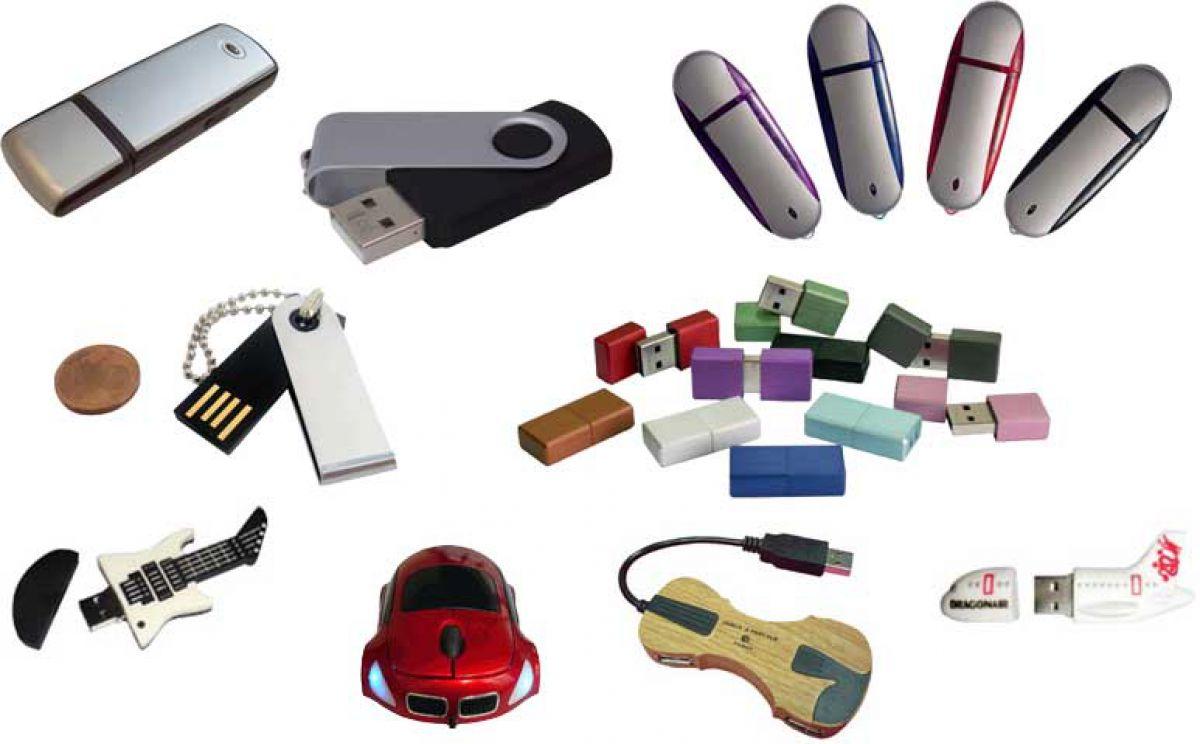 Collage von verschiedenen USB-Sticks