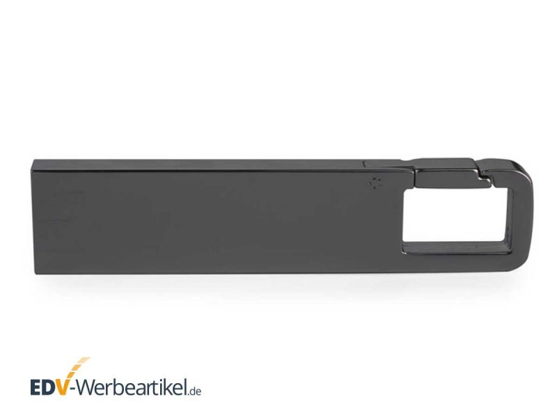 USB Stick KARABINER Haken in grau, dunkles Metall