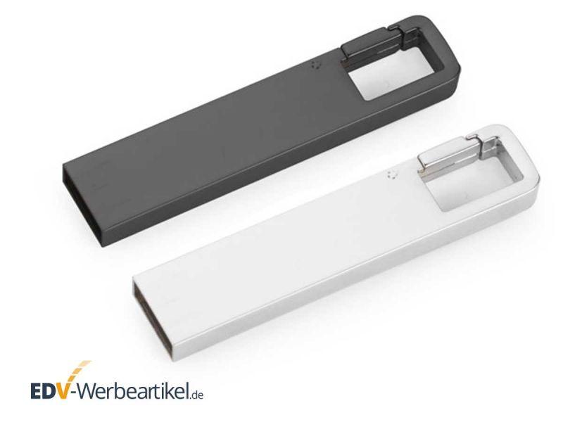 USB Stick KARABINER Haken silber grau anthrazit silver grey Metall