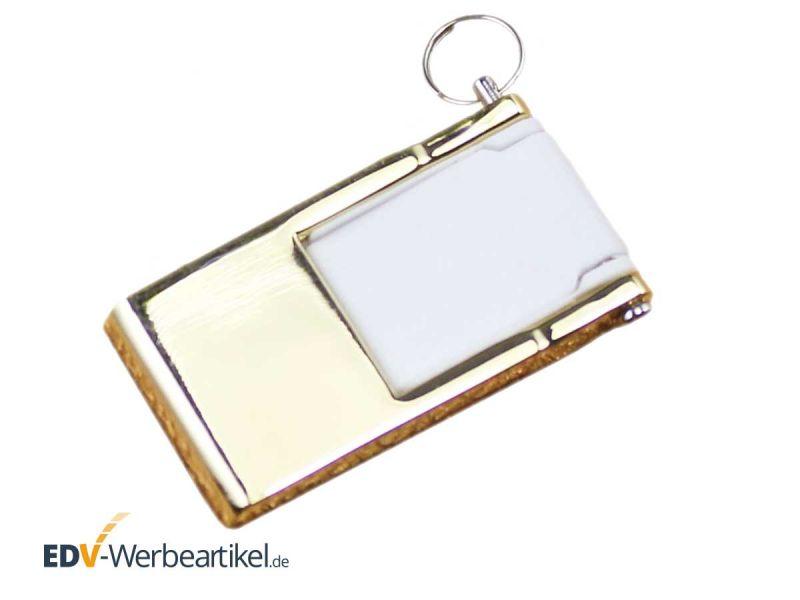 Mini Klapp USB Stick gold weiss