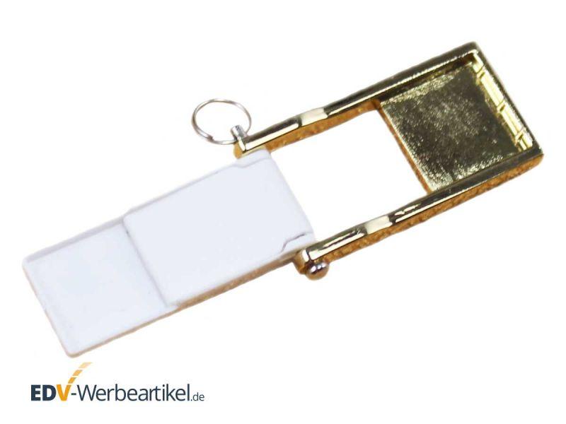 Mini Klapp USB Stick gold weiss aufgeklappt